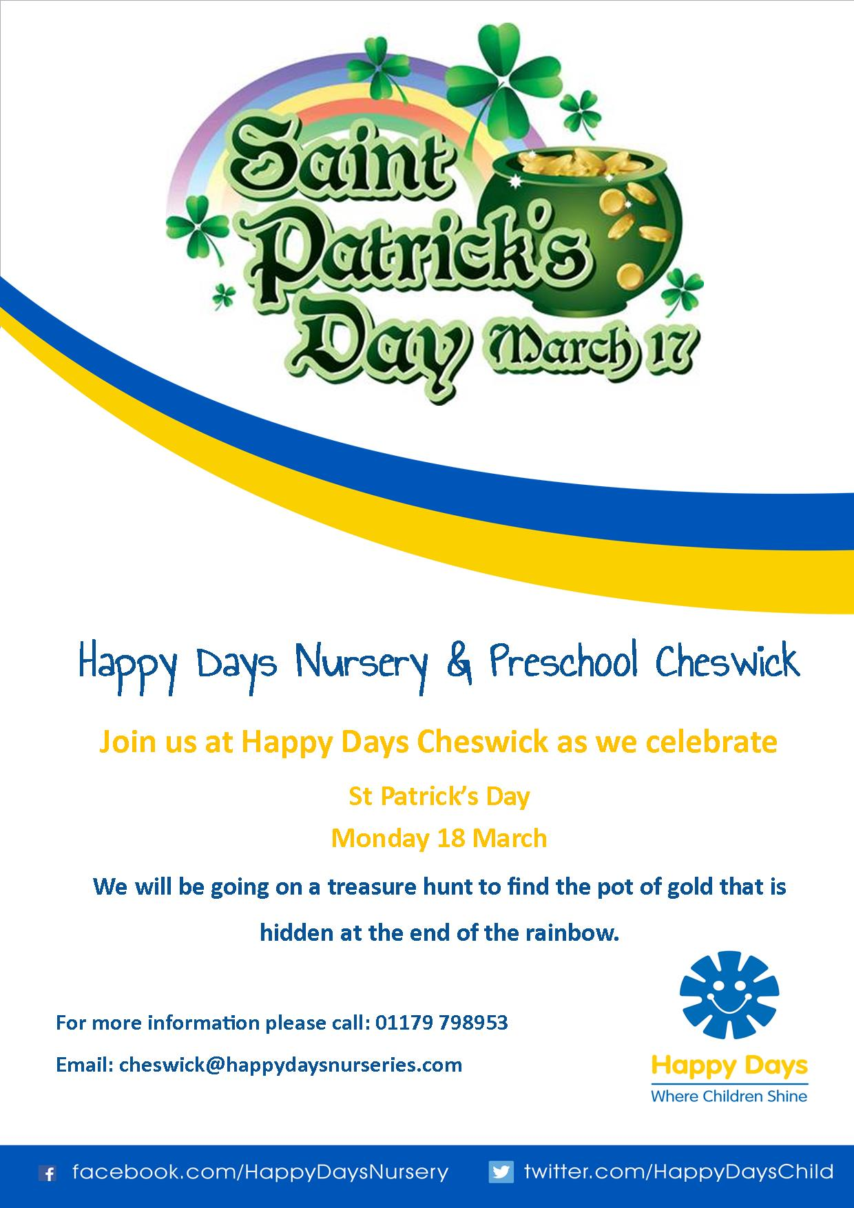 St Patricks Day Poster From Happy Days Cheswick